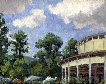 Small Oil Painting, The Shed at Tanglewood, Berkshires. Realist Landscape 5x7 Plein Air Impressionist Oil on Panel, Signed Original Fine Art
