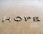 Beach Theme HOPE Sentiment Photo 5x7 with Mat- optimistic word created with natural beach stones, beach theme, word photo art, coastal decor