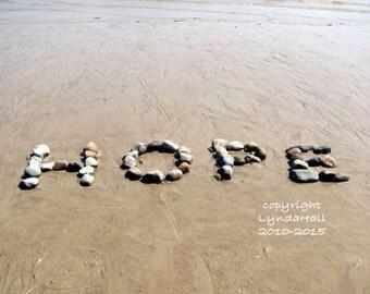 Beach Theme HOPE Sentiment Photo 5x7 with Mat- optimistic word art, beach stones, beach theme, inspirational art, beach photo, coastal decor