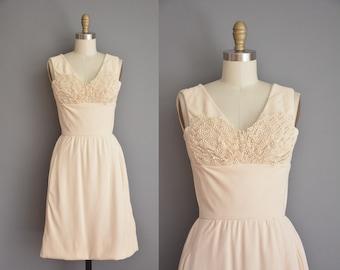 vintage 1950s dress / cream party dress / 50s wiggle dress