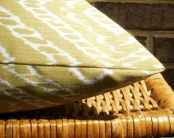 SALE ~ Outdoor Decorative Chartreuse Ikat 18 X 18 Pillow Cover