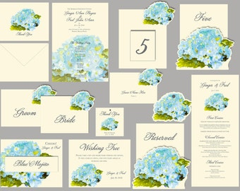 Soft Blue Hydrangea  Wedding - Tags - Place cards - escort cards, events, weddings, decorations, custom paper goods