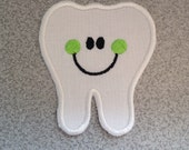 "Large Happy Tooth, 5 1/2"" x 5""  DIY Iron On - Sew On, Tooth Applique Patch, Tooth Fairy Costume, Tooth Fairy Pillow, Tooth Embroidery Patch"
