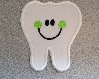 """Large Happy Tooth, 5 1/2"""" x 5""""  DIY Iron On - Sew On, Tooth Applique Patch, Tooth Fairy Costume, Tooth Fairy Pillow, Tooth Embroidery Patch"""