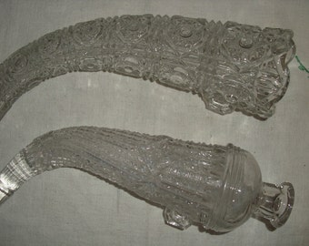 Two Antique Glass Auto Vases, Flask, Horn, Wall Pocket, Vase