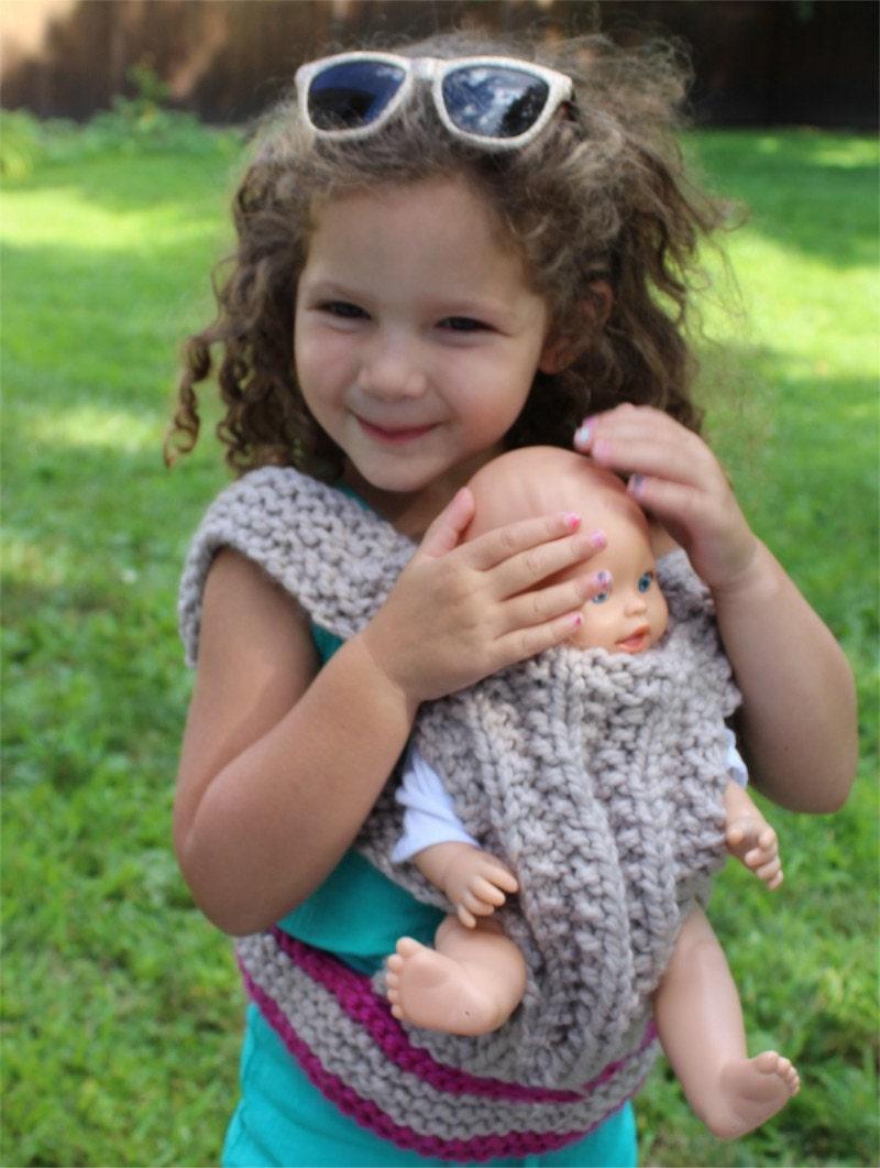 Knitting Pattern For Doll Carrier : KNITTING Pattern Baby Doll Carrier knitting pattern PDF. DIY