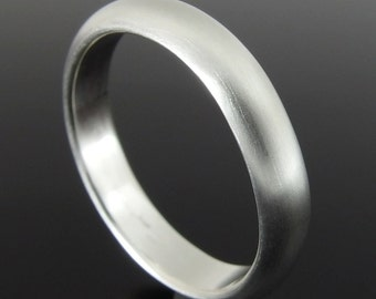 Sterling Silver Half Round Band Ring, Sterling Silver Ring, Silver Wedding Band, Silver Wedding Ring, 4 x 2 mm, Satin Finish