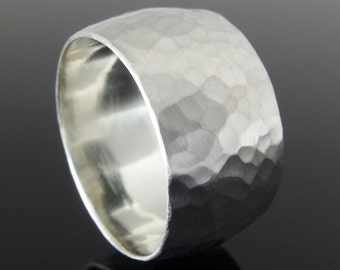 Hammered Sterling Silver Wide Band Ring, Silver Ring, Statement Ring, Silver Wedding Band, Silver Wedding Ring, 10 x 1.5 mm, Satin Finish