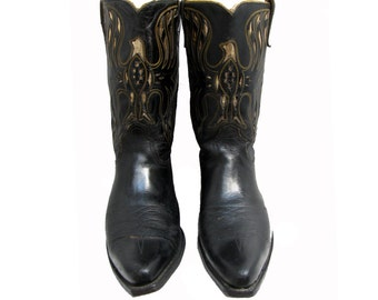 Vintage Acme Cowboy Boots Preowned Mens Eagle Leather Inlay Western Boots Made In USA  Mns US Size 10 D