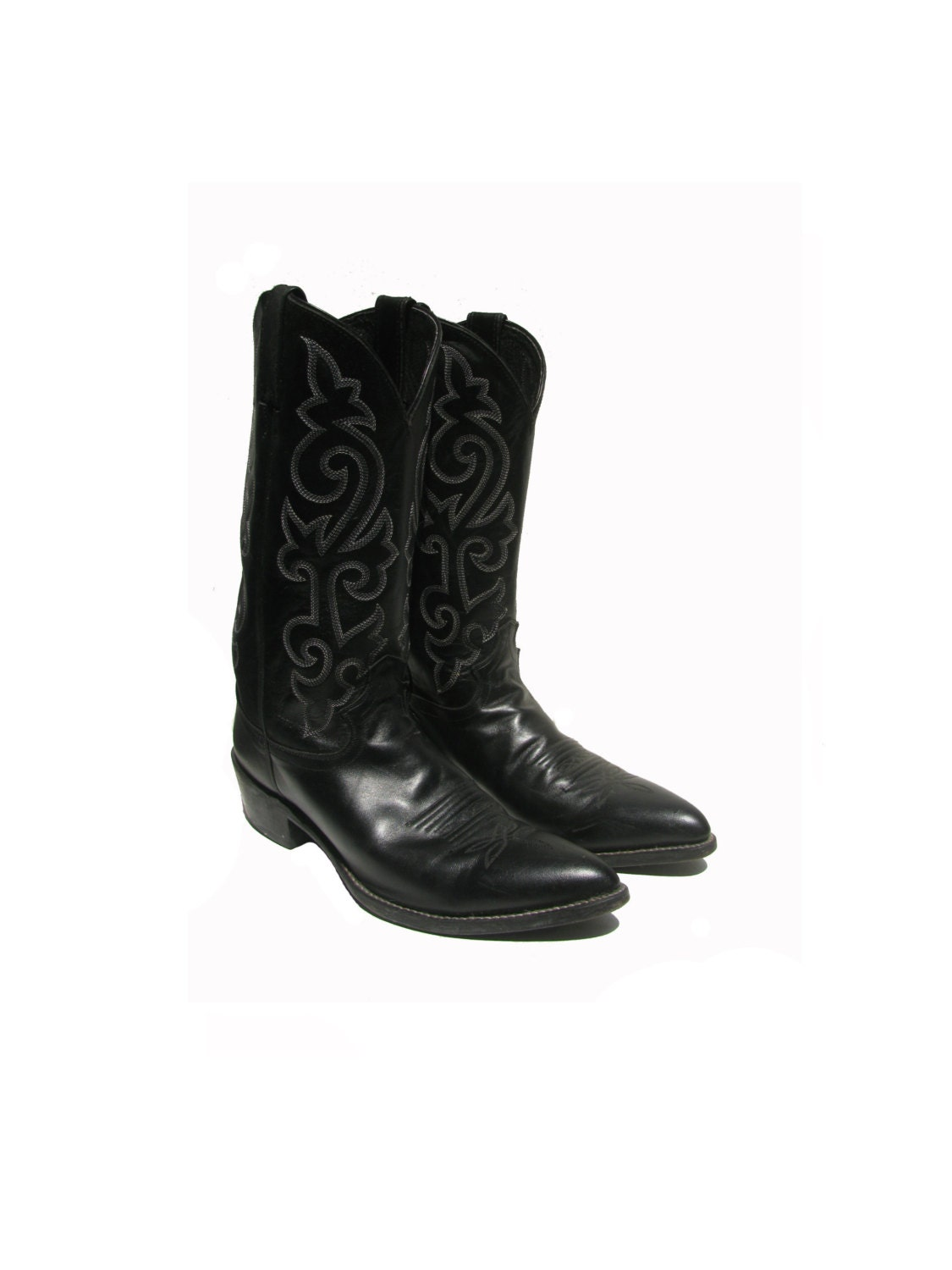 vintage cowboy boots mens justin black leather western boots