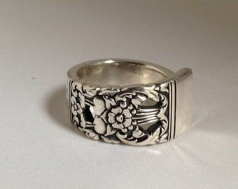 Spoon Ring. Coronation 1936 Vintage Silverplate Size Choose Your Size 7 to 13
