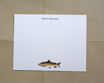 NEW! Brown Trout Fish Masculine Custom Notecard Stationery. Thank You, Any Occasion, Personalize Watercolor Print, Set of 10.