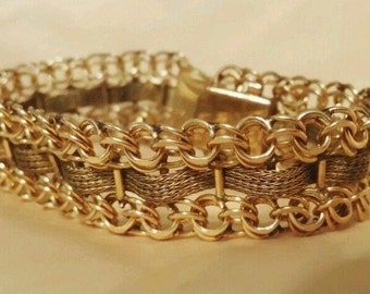 Vintage gold filled wide heavy chain link charm bracelet by American