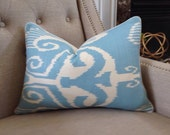 """Quadrille China Seas Nomad Pillow Cover in Blue on White - 14""""x20 - Pattern on the front"""