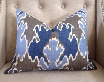 "Kelly Wearstler for Lee Jofa - 14""x18"" - Bengal bazaar in grey/blue - Pattern on the front"