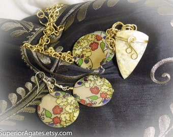 Plume Agate & Mother of Pearl Shell Brass Stone Necklace 24 inch with Matching Earrings