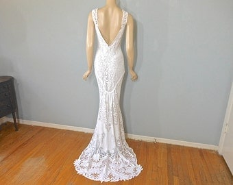 Crochet Lace Bohemian Wedding Dress MERMAID wedding dress VINTAGE White Lace Wedding Dress Sz Medium