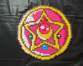 Sailor Moon Brooch, sailormoon brooch, sailor moon, anime, perler bead art, sailormoon, sailor jupiter, sailor venus, sailor mars,
