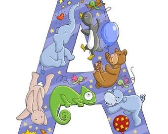 A, ALPHABET, Animals, Childrens Art, NURSERY decor, 8x10 Print, Kids Art, Series, ABCs, Illustrated Wall Art, Initial Art