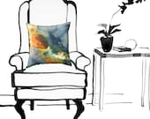 Abstract Contemporary Orange and Gray Watercolor Throw Pillow Cover