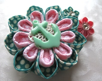 Summer Sailing Kanzashi Flower Mint and Pink Hair Clip