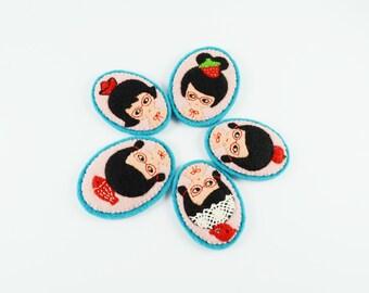 36% SALE Red Glasses Club Felt Brooch / Miniature Portrait Brooch / Robin Girl Pin / Paper Boat Girl Pin / Snow White Felt Brooch
