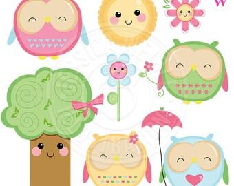 Kawaii Owls Cute Digital Clipart, Cute Owl Clipart, Owl Clip Art, Scrapbook owls, Kawaii graphics, Cute Spring Clipart, Instant Download