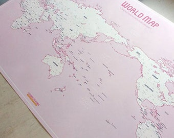 World Travel Map Sketches Poster - Pink (36.7 x 24.4in)