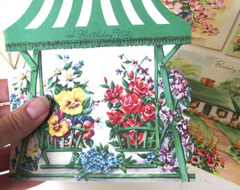 Vintage Birthday Cards, Assortment of 7 Die-Cut Cards with Envelopes (A1)