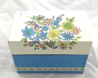 Metal Recipe File Box, Vintage flower Illustrate Index Card Holder from Ohio Art