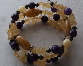 Calcite, Agate, and Glass Bead Memory Wire Bracelet