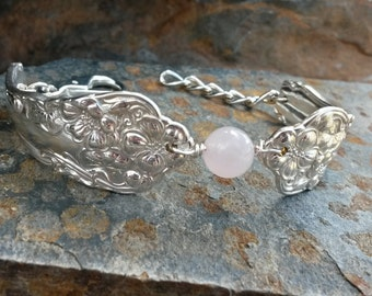 Antique Silverware Bracelet with Rose Quartz, Silverware Bracelet, Pink Quartz Silverware Bracelet
