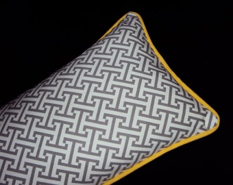 20x12 Gray Greek Key Lumbar Pillow Cover With Yellow Piping - Purchase With Or Without Pillow Form