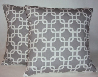 Two 18x18 Decorative Gray Geometric Lattice Pillow Covers - Purchase With Or Without Pillow Forms