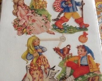 Antique Vintage Die Cut Fairy Tales Puss in Boots Princess Susan Alexander's L'Arte Coupee