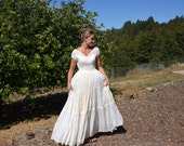 RESERVED for DIETER Vintage  Wedding Dress Prairie Style Farm or Barn Wedding Dress Cahill Beverly Hills Size Sm