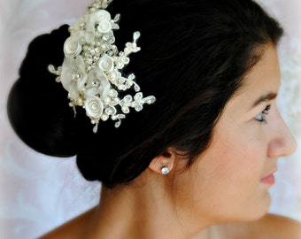 Ivory Wedding Hair Flowers, Bridal Fascinator, Hair Clip with Crystals and Pearls - INGENUE
