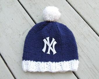 NEW YORK YANKEES Hand Knit Baby Hat - Yankees Baby Hat - New York Yankees Baby Hat, Hand Knitted Baby Hat