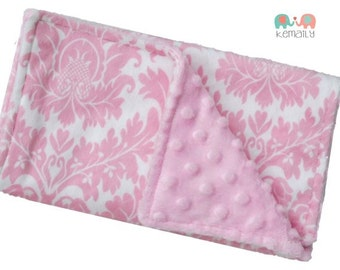 Burp Cloths Pink Damask Double Minky Burp Cloth - Baby Shower - Newborn Gift - New Mom Gift - Feeding - Nursing - New Mom - Essentials