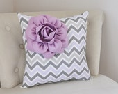 Lilac Corner Dahlia on Lilac Gray and White Chevron Pillow - Baby Nursery Pillow - Light Purple Decor