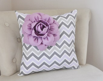 Lilac Corner Dahlia on Lilac Gray and White Chevron Pillow - Baby Nursery Pillow - Light Purple Decor