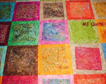 """Twisty Treats-Twisted 10.5"""" Blocks- Patchwork Quilt-Bed Quilt-Handmade Quilt-Made in USA by MJ Quilts-Free Shipping in USA"""