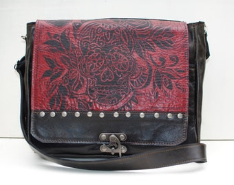 Leather Camera  Messenger Bag With Sugar Skull Print and Removable Padded Insert in Espresso