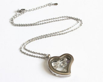 Heart Shape Floating Locket (Memory Locket) with Floating Charms