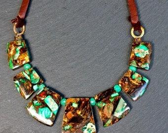 Jasper Necklace , Gemstone Necklace , Adjustable Necklace , Leather Necklace , Chunky Necklace , Bib Necklace , Amy Fine Design