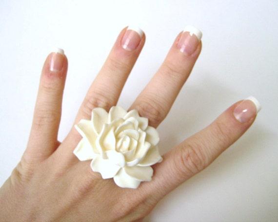 Large Statement Ring - Large Ring - Large Cocktail Ring - White Jewelry - Resin Rose Flower Ring