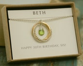 30th birthday gift, peridot necklace, August birthstone necklace, 3 best friend necklace, new mom jewelry - Lilia