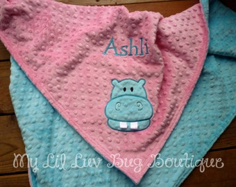 Personalized baby blanket minky- baby hippo hot pink and turquoise- large stroller blanket 30x35
