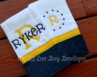 Personalized Burp cloths - set of two prefold diaper-  navy blue and canary yellow