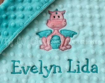 Baby blanket personalized small- saltwater blue and teal with coral baby dragon- lovey blanket